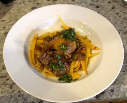 Slow cooker Osso Buco with Sweet Potato Noodles
